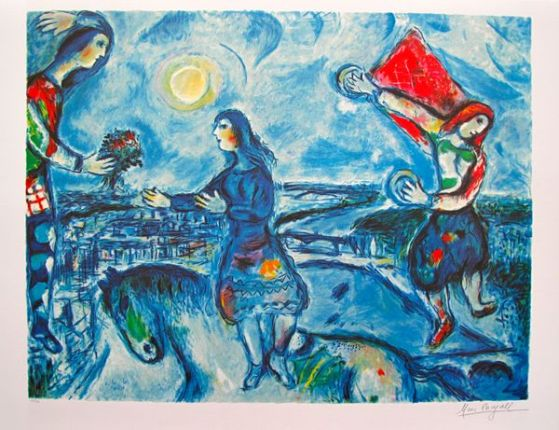 Marc Chagall LOVERS OVER PARIS Limited Edition Lithograph
