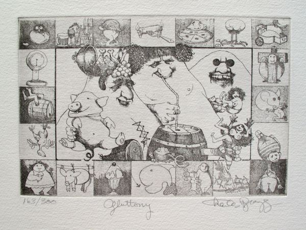 Charles Bragg GLUTTONY Hand Signed Limited Ed. Etching