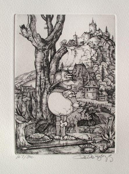 Charles Bragg PISSING from CAMELOT SERIES Hand Signed Limited Ed. Etching