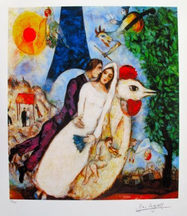 Marc Chagall BRIDE & GROOM OF THE EIFFEL TOWER Limited Edition Giclee