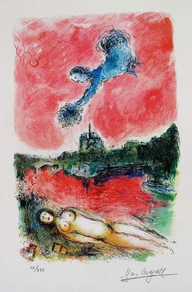 Marc Chagall VUE OF NOTRE DAME Limited Edition Facsimile Signed Small Giclee