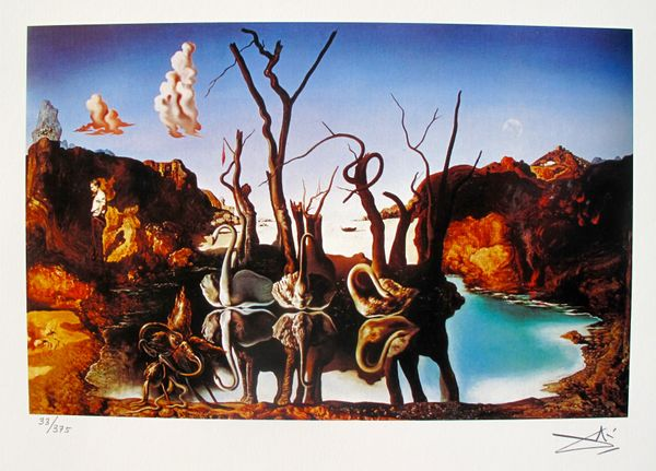 Salvador Dali SWANS REFLECTING ELEPHANTS Facsimile Signed & Numbered Giclee