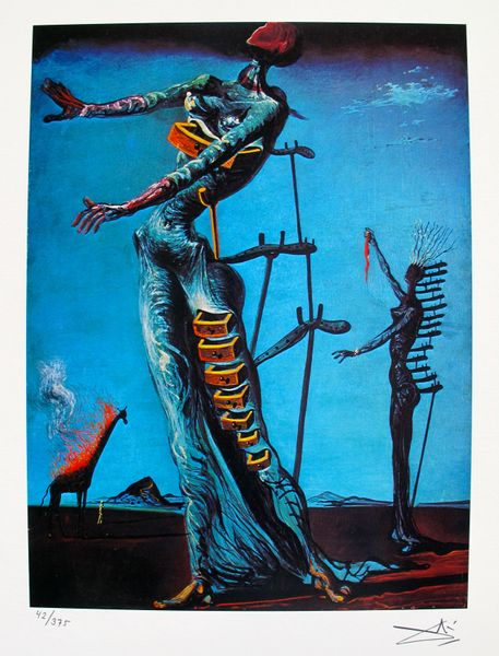 Salvador Dali BURNING GIRAFFE Facsimile Signed Limited Edition Giclee