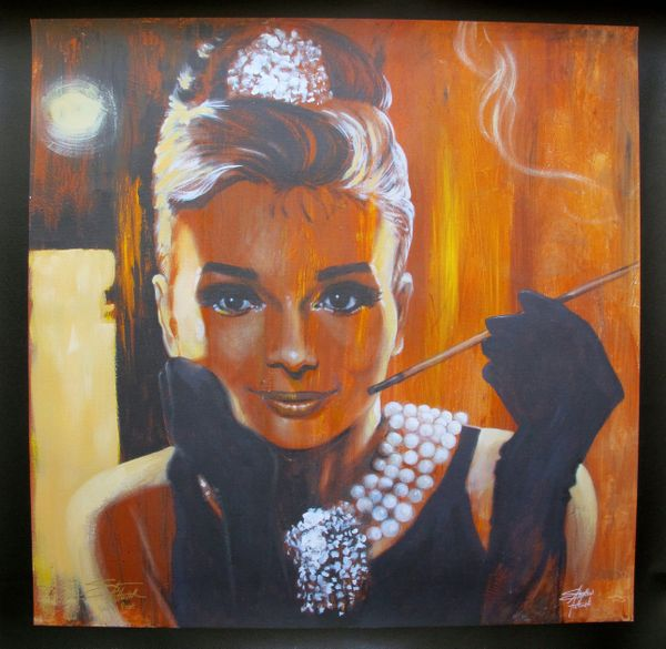 "STEPHEN FISHWICK ""BREAKFAST"" AUDREY HEPBURN Hand Signed Limited Ed. Large Giclee on Canvas"