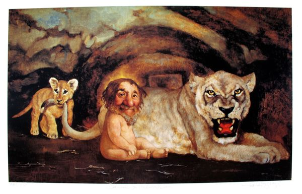 Charles Bragg DANIEL IN THE LIONS DEN Hand Signed Limited Ed. Lithograph