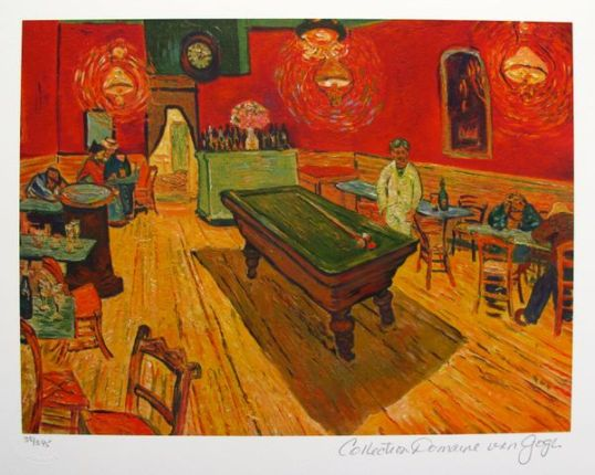 Vincent Van Gogh THE NIGHT CAFE, Rec. Room Estate Signed Limited Ed. Giclee Small Vincent Van Gogh THE NIGHT CAFE, Rec. Room Estate Signed Limited Ed. Giclee Small