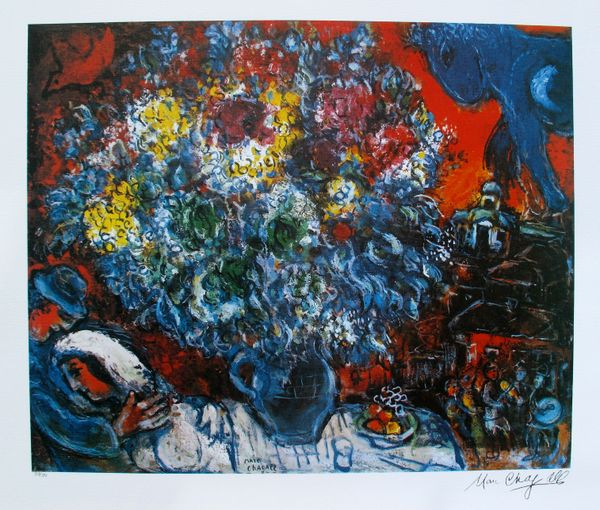 Marc Chagall BOUQUET DE FLEUR ET AMANTS Limited Edition Lithograph