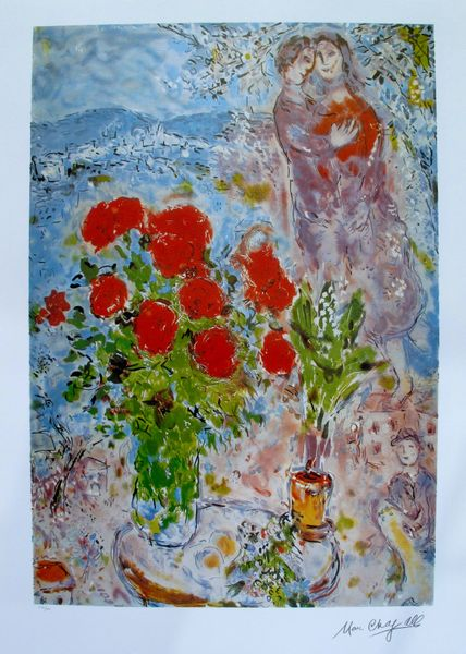 Marc Chagall RED BOUQUET WITH LOVERS Limited Edition Lithograph