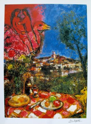 Marc Chagall LOVERS OVER CITY Limited Edition Signed Lithograph