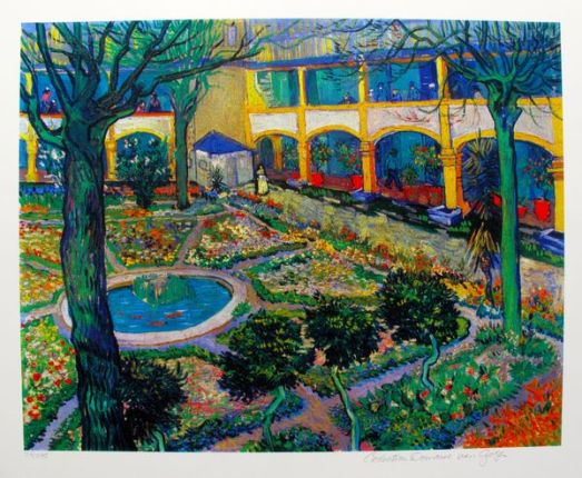 Vincent Van Gogh THE COURTYARD OF THE HOSPITAL AT ARLES Estate Signed Limited Ed. Giclee