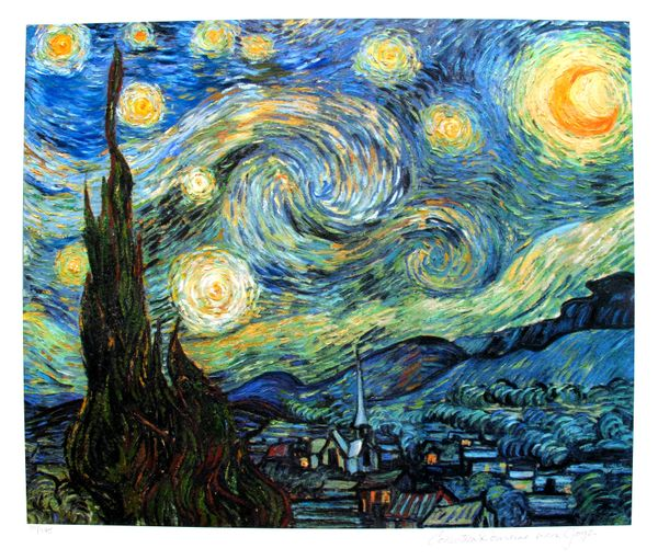 "VINCENT VAN GOGH ""STARRY NIGHT"" Estate Signed Small Giclee"