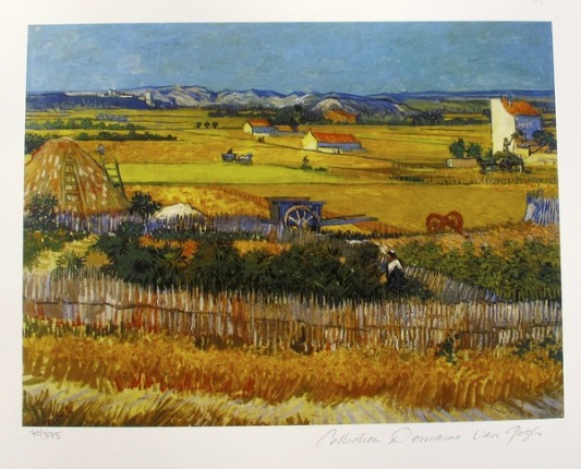 "VINCENT VAN GOGH ""HARVEST LANDSCAPE IN ARLES"" Estate Signed Small Giclee"