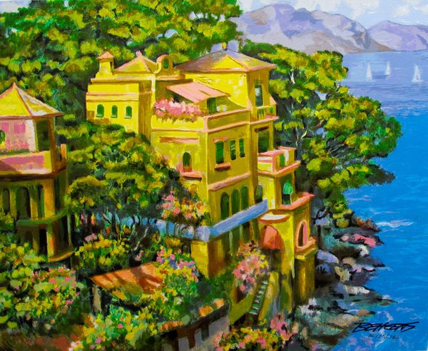 "Howard Behrens ""VILLA PORTOFINO"" Hand Signed Limited Edition Serigraph"