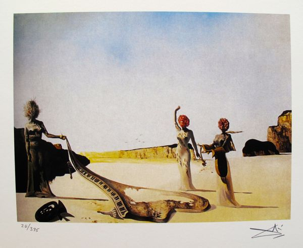 Salvador Dali THREE YOUNG SURREALIST WOMEN Facsimile Signed & Numbered Giclee