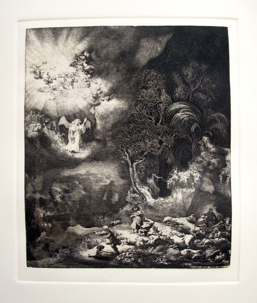 Rembrandt THE ANGEL APPEARING TO THE SHEPHERDS Plate Signed Etching