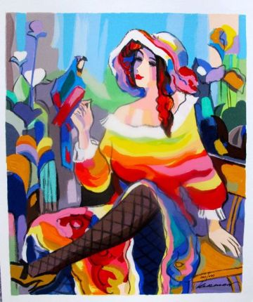Michael Kerman LADY WITH A PARROT Hand Signed Limited Edition Serigraph
