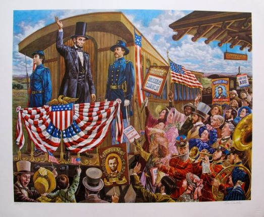 Lee Dubin MR. LINCOLN GOES TO WASHINGTON Limited Ed. Hand Signed Lithograph