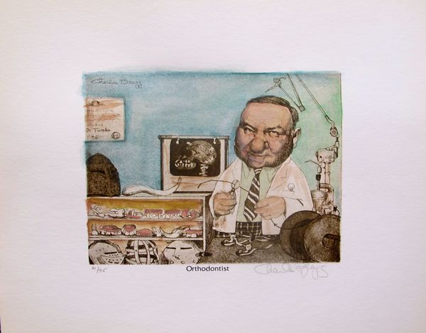 Charles Bragg ORTHODONTIST Hand Signed Color Lithograph