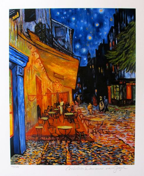Vincent Van Gogh THE TERRACE CAFE Estate Signed Small Limited Ed. Giclee
