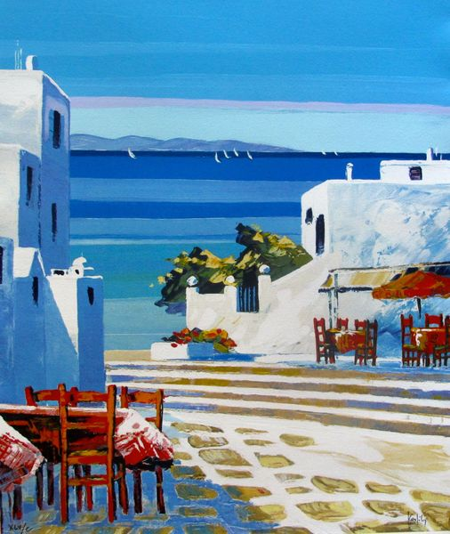 "KERFILY ""MYKONOS III"" Hand Signed Serigraph on Canvas"