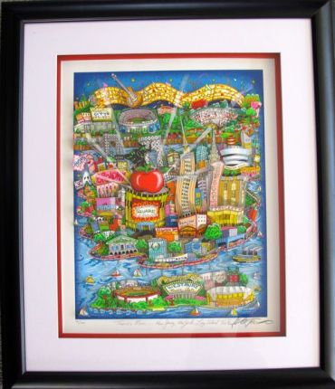"CHARLES FAZZINO ""THERE'S MUSIC"" Framed Hand Signed 3-D Serigraph NEW YORK, NEW JERSEY, LONG ISLAND TOO"