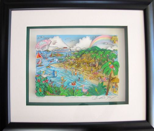 "CHARLES FAZZINO ""OUR CARIBBEAN VACATION"" Framed Hand Signed 3-D Serigraph CRUISE"