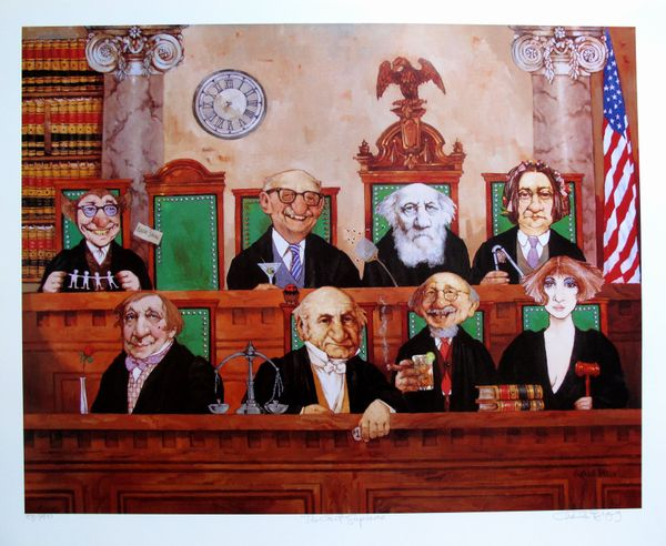 Charles Bragg COURT SUPREME Hand Signed Limited Ed. Lithograph