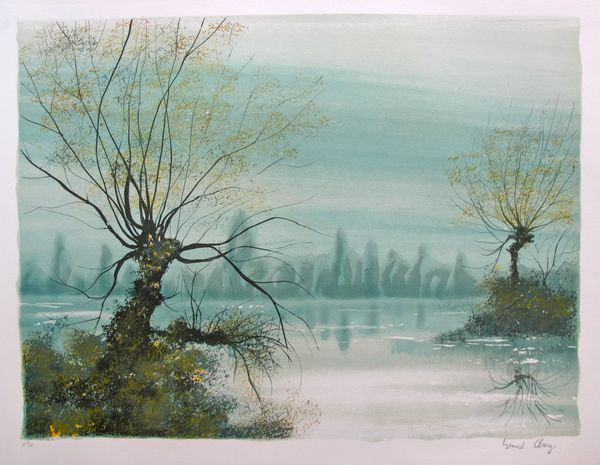Bernard Charoy THE LAKE Hand Signed Limited Ed. Lithograph