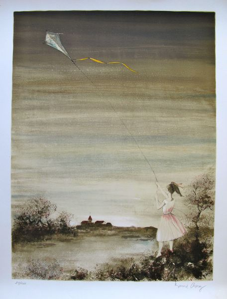 Bernard Charoy GIRL WITH KITE Hand Signed Limited Ed. Lithograph