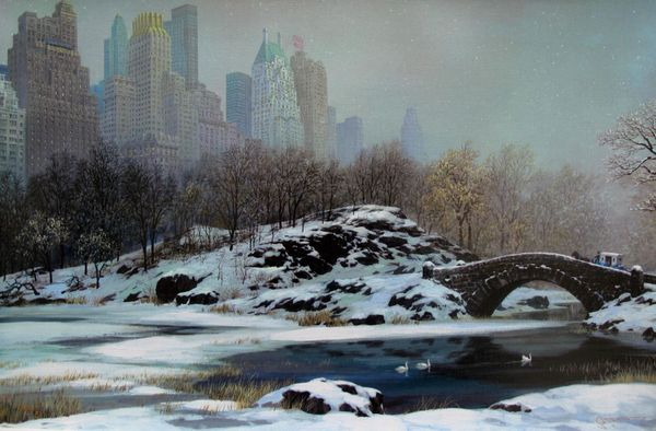 Alexander Chen CENTRAL PARK BRIDGE IN WINTER Limited Ed. Hand Signed Serigraph