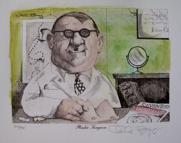Charles Bragg PLASTIC SURGEON Hand Signed Color Lithograph