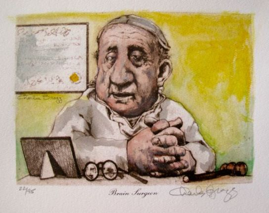 Charles Bragg BRAIN SURGEON Hand Signed Color Lithograph