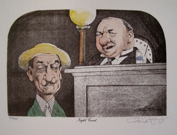Charles Bragg NIGHT COURT Hand Signed Color Lithograph