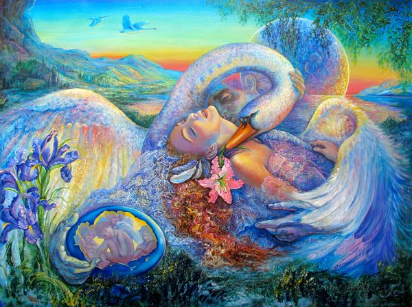 Josephine Wall LEDA AND THE SWAN Hand Signed Embellish Giclee on Canvas