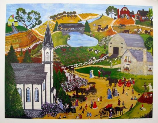 "DENEILLE SPOHN MOES ""SUNDAY MASS"" Hand Signed Limited Edition Serigraph CHURCH"