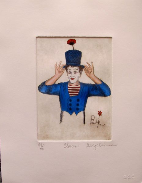 "GEORGE CRIONAS ""CLOWN"" Hand Signed Limited Edition Color Etching"