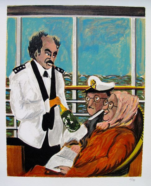 Guy Buffet CRUISE SHIP SOMMELIER Limited Ed. Giclee