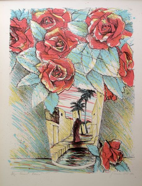 Susan Hall DESERT ROSES Hand Signed Limited Ed. Lithograph