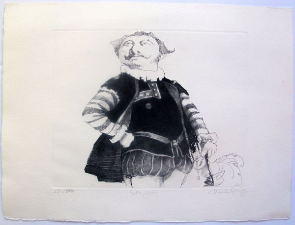 """CHARLES BRAGG """"DON JUAN"""" Hand Signed Limited Edition Etching RARE!"""