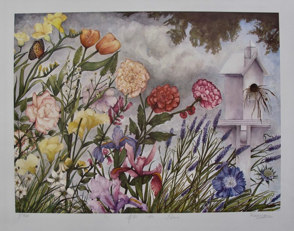 FREDERIQUE After the Rain Hand Signed Limited Edition Lithograph Flower Garden