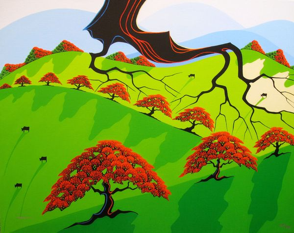 "LARISSA HOLT ""FALL FIELDS"" Hand Signed Giclee on Canvas EYVIND EARLE PROTEGE"