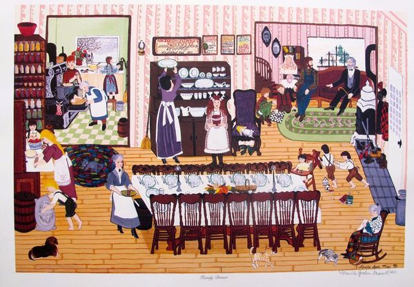 "DENEILLE SPOHN MOES ""FAMILY DINNER"" Hand Signed Limited Edition Serigraph"