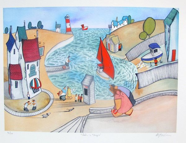 "MIKE JACKSON ""FISH N' SHIPS"" Hand Signed Limited Edition Giclee"