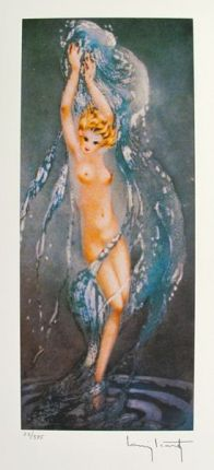 Louis Icart FOUNTAIN Facsimile Signed Limited Edition Giclee Small