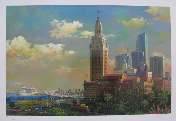 Alexander Chen FREEDOM TOWER & PORT OF MIAMI Limited Ed. Hand Signed Serigraph