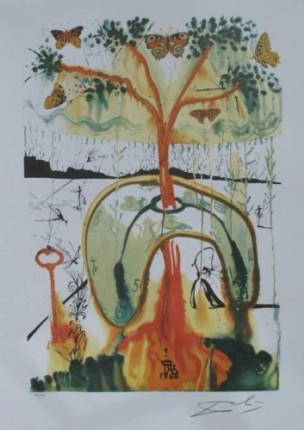 Salvador Dali MAD TEA PARTY Limited Edition Facsimile Signed Lithograph