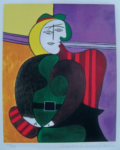 Pablo Pico Woman In Red Armchair Estate Signed Limited Edition Small Giclee