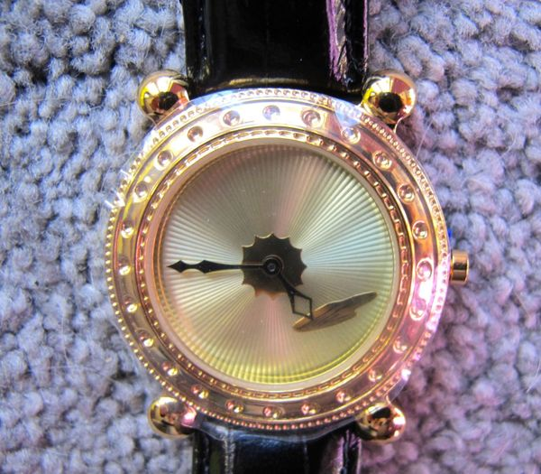"ERTE SIGNED MENS WATCH ""GOLD DECO"" Face with Black Band"