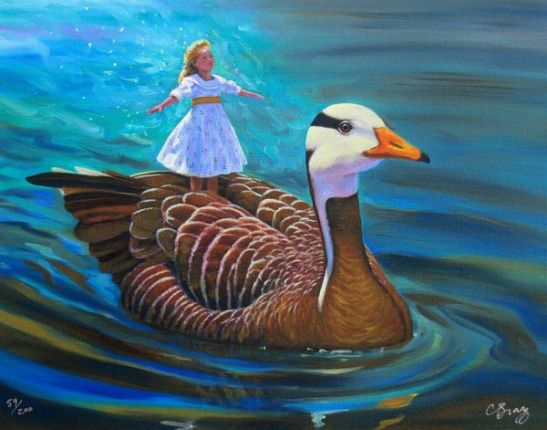 Charles Lynn Bragg GOOSE RIDE Hand Signed Limited Ed. Giclee