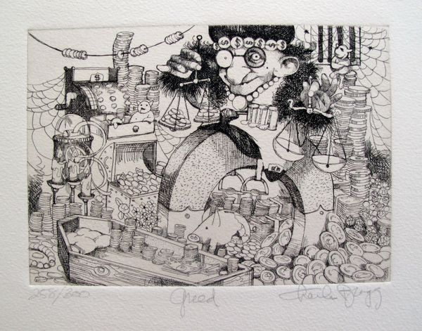 Charles Bragg GREED Hand Signed Limited Edition Etching